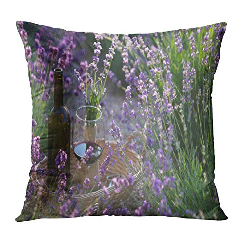 Emvency Personalized Pillowcase Purple Alcohol Bottle of Wine Against Lavender Landscape in Sunset Rays Autumn Basket Beautiful Bouquet Home Decorative Square Size 18 x 18 Inches Cushion Pillowcover