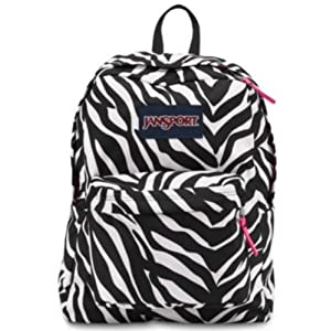 JANSPORT SUPERBREAK BACKPACK SCHOOL BOOK BAG - Black/ white/ Pink Zebra