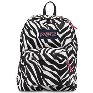 JANSPORT SUPERBREAK BACKPACK SCHOOL BOOK BAG - Black/ white/ Pink Zebra