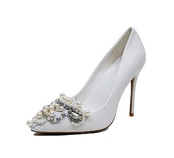 Pointed Toe Pump 10cm Scarpin White Wedding Shoes Women Charming White  Pearl Diamond High Heels Dress 1c1853083b2e