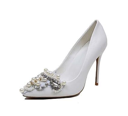 ec8e4d02b1bb Pointed Toe Pump 10cm Scarpin White Wedding Shoes Women Charming White  Pearl Diamond High Heels Dress