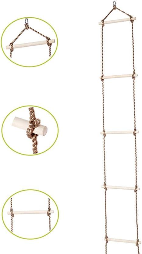 Escalera de Cuerda, Juguete Trapeze de Madera con 5 peldaños para ...