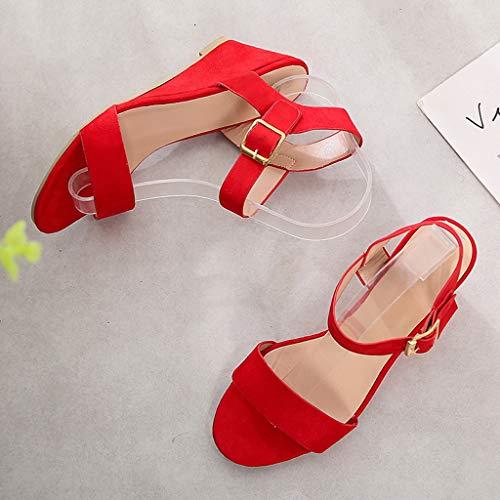 Fuori Sandali Pesce Bocca Fibbia Romani Tinta Scarpe Singole Quadrato Di Unita Shoes Moda Col Con Donna Scava Red Tacco 4xR4wpqB