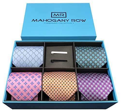 Luxury Men's Necktie Collections, 5 Premium Italian Fabric Neckties, 2 Modern Tie Bars, Handcrafted Designer Gift Box, The Must Have Mens Necktie Sets