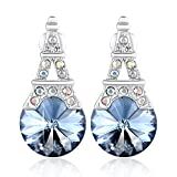 PLATO H Eiffel Tower Earrings with Swarovski Crystals Women Fashion Jewelry Earring Tower Stud Earring For Women, Bithday Gifts