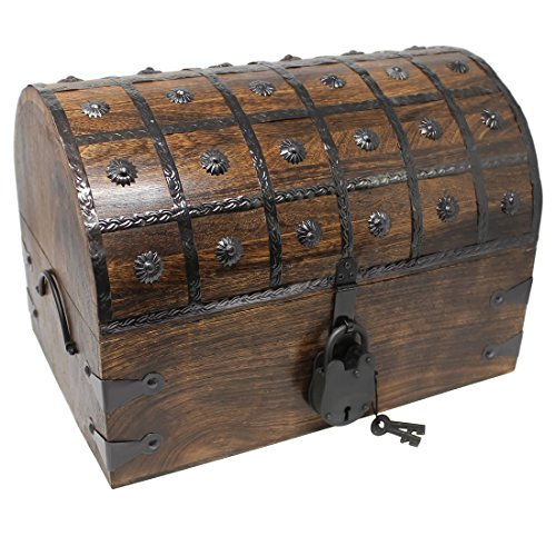 Storage Chest Decorative (Nautical Cove Pirate Treasure Chest with Iron Lock and Skeleton Key - Storage and Decorative Box (X-Large 16 x 11 x 11))