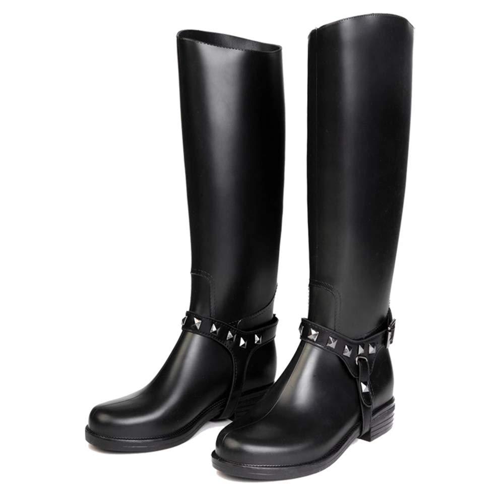 HGDR Frauen schwarz Gummistiefel Gummi Gummistiefel Damen hohe Regen Stiefel Stiefel Stiefel Wasserdichte Flache Outdoor Garten Schuhe für Damen Damen,schwarz-EU38 6ad145