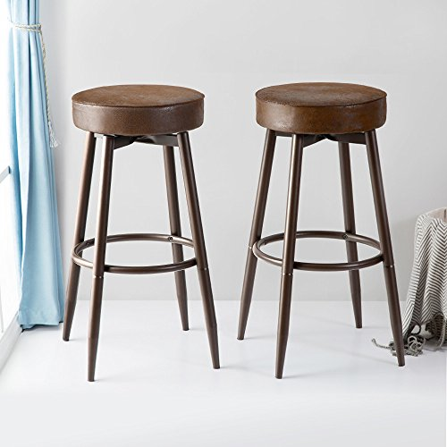 DecoMate Metal Bar Stools Set of 2, Swivel Chocolate Kitchen Counter Stool, Adjustable Industrial Round Barstool, Brown Bar Chairs, 24 or 29 Inch For Counter Pub (24 Inch Round Bar Stool)