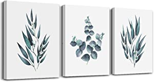 White background Green plant leaf Wall Decorations for Living Room wall art for kitchen room Wall decor Bathroom Decorations 3 Pieces Framed Canvas print Artwork modern Home Decor watercolor painting