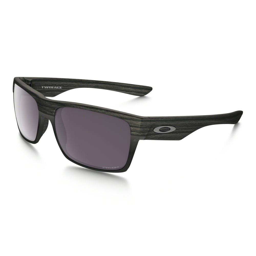 Oakley Twoface Sunglasses (Woodgrain Frame/Prizm Daily Polarized Lens) with USA Flag Lens Cleaning Kit by Oakley