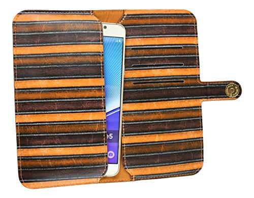 Emartbuy Rosa Vendimia Rayas Cuero PU Funda Carcasa Case Tipo Bolsa ( Talla 5XL ) Con Cierre Magnético apto para Intex Aqua S9 Pro Smartphone Marrón Vendimia Rayas Wallet