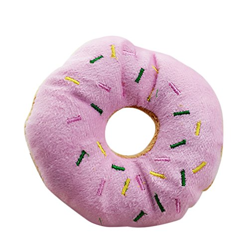 Da.Wa 1Pcs Soft Plush Pet Chewing Toys Doughnut Shaped Quack Novelty Sound Squeaky Toys for Dog Puppy (Donut Dog Toy)