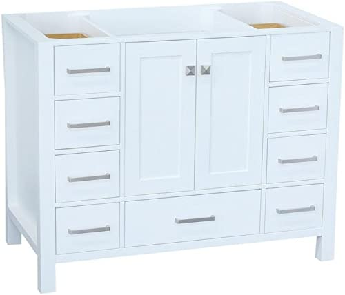 ARIEL 42 inch White Bathroom Vanity Base Cabinet with Single Sink Configuration 2 Soft Closing Doors and 9 Full Extension Dovetail Drawers Satin Nickel Hardware 42 x 21.5 x 33.5