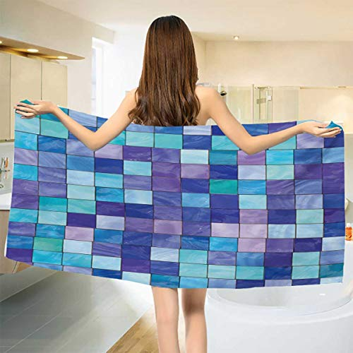 (Chaneyhouse Navy and Teal,Baby Bath Towel,Stained Glass Inspired Design Checkered Pattern Dreamy Fantasy Colors Shades,Print Wrap Towels,Multicolor Size: W 10