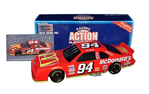 - 2X AUTOGRAPHED 1995 Bill Elliott #94 McDonalds (Winston Cup Series) Ford Thunderbird Signed Action 1/24 Black Window Bank NASCAR Diecast Car with COA & Signed Skybox Card (1 of 5,004 produced!)