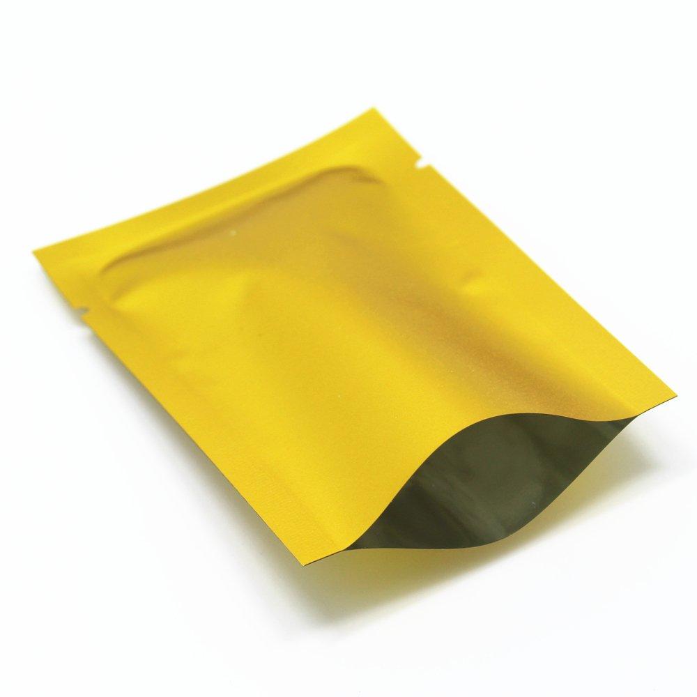 6x9cm (2.3x3.5) 3000 Stück Golden Matt Alufolie Heißsiegel Vakuum Beutel Lebensmittel Verpackung Speicherung Lagerung Taschen Öffnen Sie Oberseite Heißgesiegelt Tüten Lagerfhig für Lange Zeit Verpacken Taschen