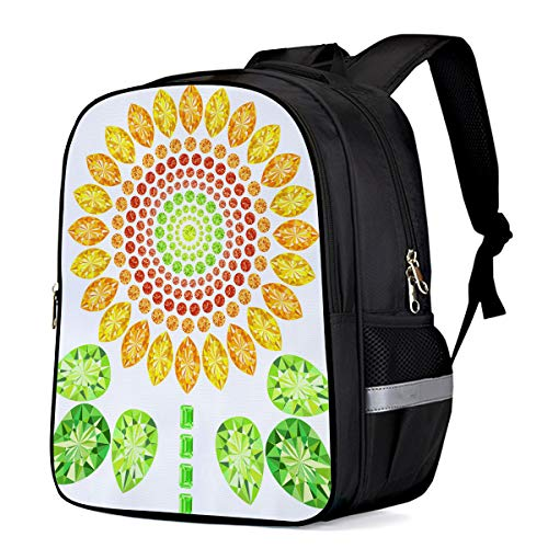Water Resistant School Backpack, Sunflower Clipart Oxford 3D Print College Student Rucksack Daypack for School Camping Travel 41x30x17cm