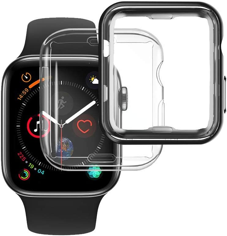 [2-Pack] NotoCity Compatible Apple Watch Case Series 6/Series 5 44mm Screen Protector, Overall Protective Soft Case TPU HD Clear Ultra-Thin Cover Compatible Apple Watch Series 6/5/4(Black 44mm)