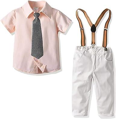 Conjunto de Dos Piezas para Niño, Camisa Manga Corta Color Sólido con Corbata+Pantalones de Tirantes, 1-6 Años #031: Amazon.es: Ropa y accesorios