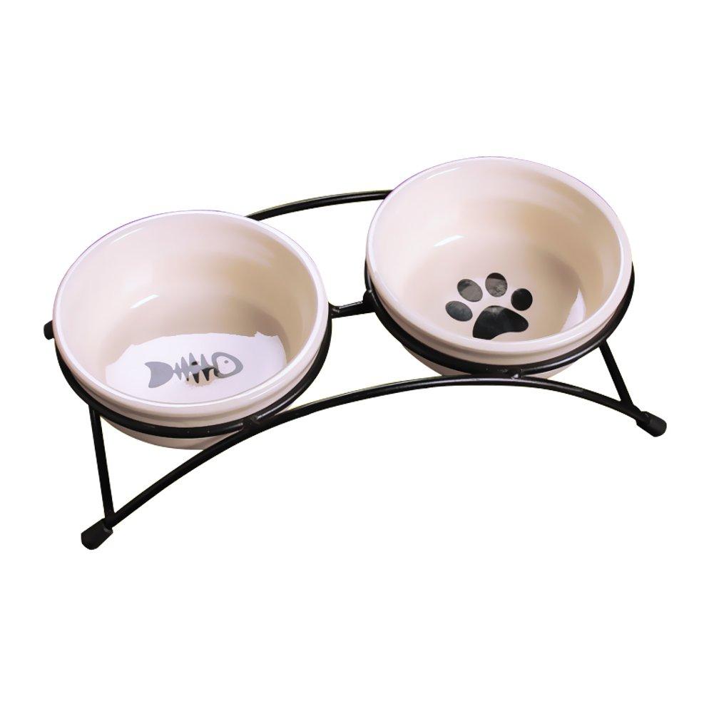 Doppelnapf erhöhter Futternapf Ständer Tablett-Anzug für kleine Hunde und Katzen, Klauen und Fisch Designs, Beige PetTree