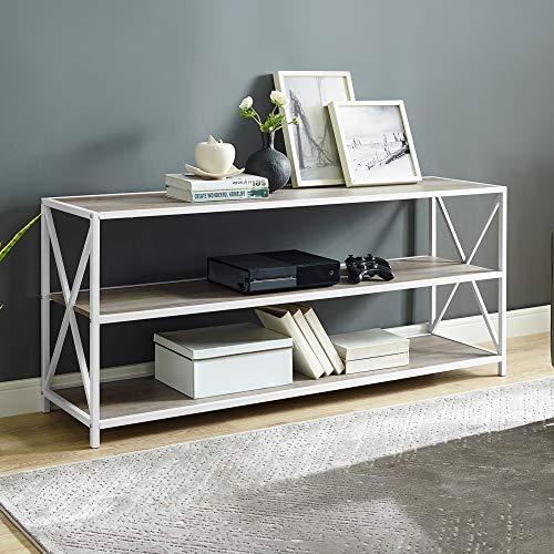 Walker Edison2 Tier Open Shelf Industrial Wood Metal Bookcase Tall Bookshelf Home Office Storage