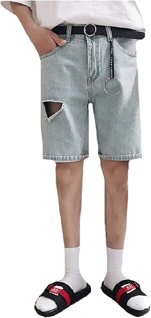 EnergyWD Men Comfy Holes Washed Jeans Straight Denim Comfy Mid Length Short