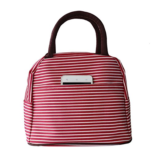Lunch Bag Waterproof Picnic Tote Bag RALMALL Insulated Lunch Cooler Bag Lunch Holder Lunch Container Travel Zipper Organizer Box for Women Men Kids Girls Boys Adults (Red)