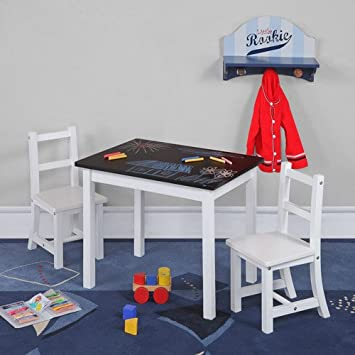 Chalkboard Top Table And Chairs Set Kids Activity Wood Furniture Play Set  Black/White