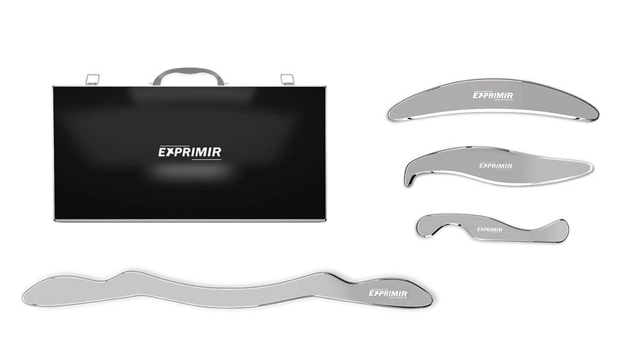 IASTM Tools Stainless Steel - Set of 4 Professional Medical Grade - Myofascial Release, Massage, and Scraping Tool Kit - for Gua Sha Therapy or Graston Technique - Muscle, Soft Tissue Mobilization by EXPRIMIR
