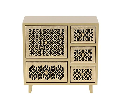 - Deco 79 82180 Gold Finished Five-Drawer Square Jewelry Chest, 10