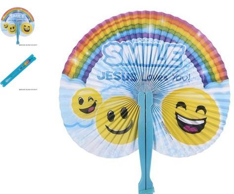 (24) 10'' Religious Folding Fans ~ ''SMILE JESUS Loves You!'' ~ CHRISTIAN FAVOR ~ by RIN