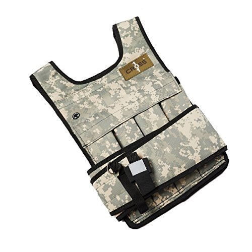 CROSS101 Adjustable Camouflage Weighted Vest Without Shoulder Pads, 20 lb (Camouflage Mens Vest)