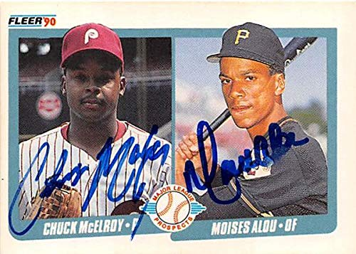 Chuck McElroy Moises Alou autographed baseball card 1990 Fleer #650 Prospects (Phillies Pirates) Rookie ()