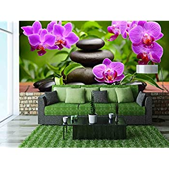 Zen Basalt Stones and Orchid - Removable Wall Mural