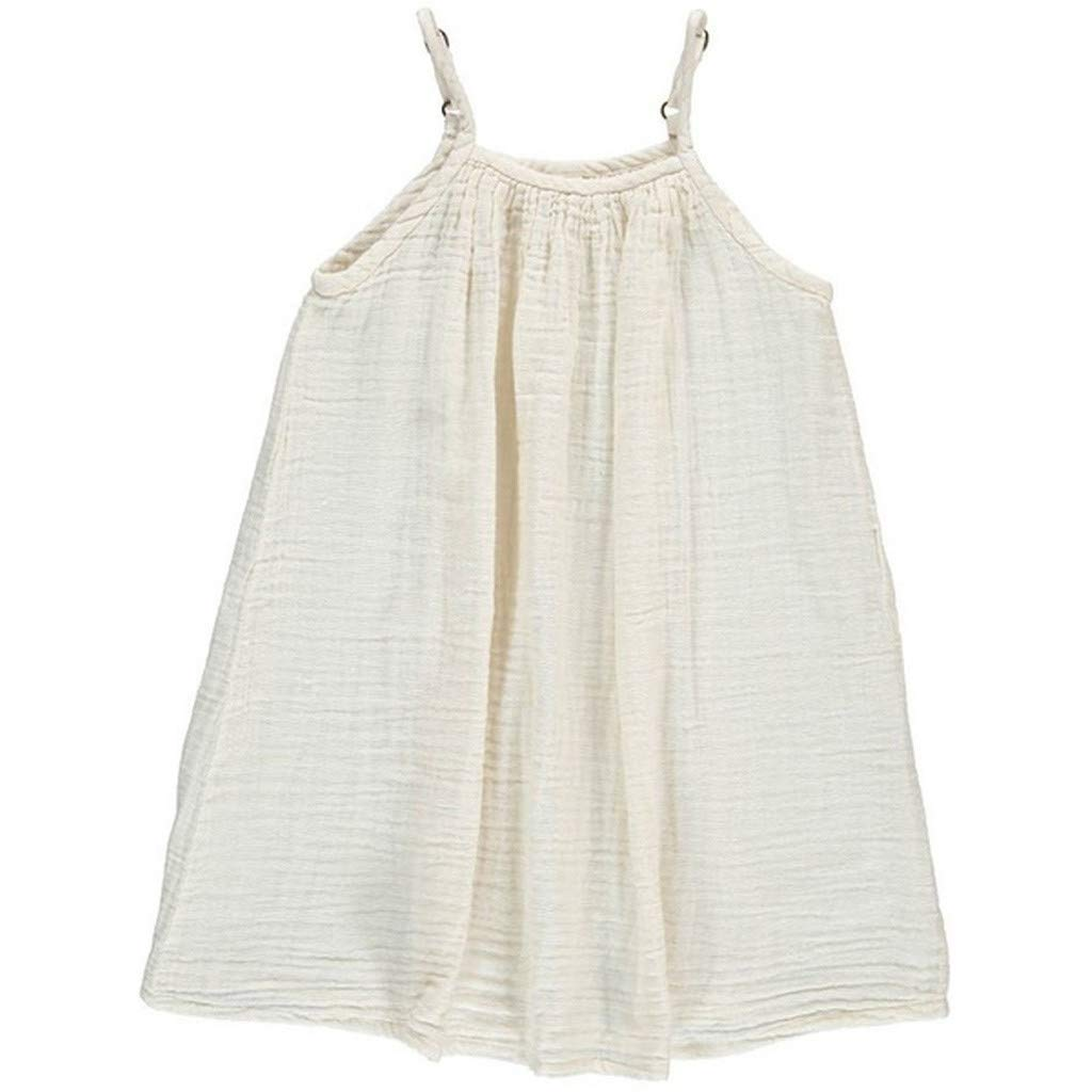 Girls Dresses Tensay Baby Infant Girl Kids Loose Strap Sleeveless Solid Colors Beach Dress Clothing