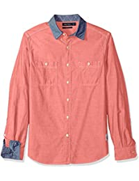 Men's Long Sleeve Chambray Button Down Shirt