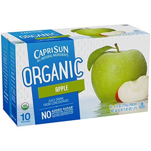Capri Sun Organic Juice Drink, Apple, 6 fl oz, 10 Pouches (Pack of 4)
