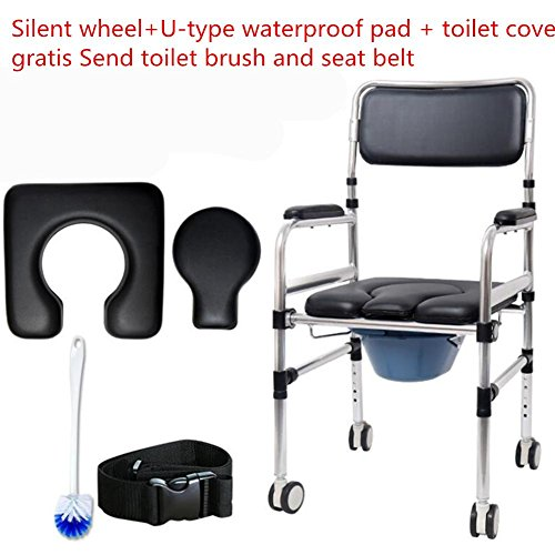 Folding Commode Chair Aluminium Bathroom Toilet Seat Seat Toilet Bathroom chair Disability /Elderly Mobility Aid Walking Chair? Included wheel / No wheel Two options ? , Included wheel by HYHAN