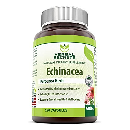 Herbal Secrets Echinacea Supplement - 400 Mg,120 Capsules - Capsules Made from 100% Pure Echinacea Purpurea Root and Plant Extract Powder Supports Healthy Immune ()