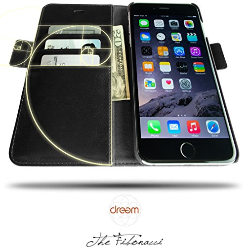 11. Dreem iPhone 7 PLUS Wallet Case with Detachable SlimCase, Fibonacci Luxury Series, Vegan Leather, RFID Protection, 2 Kickstands, Gift Box - Black