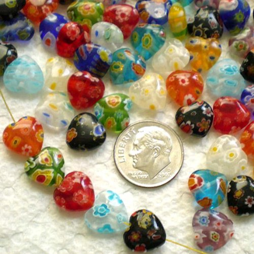 Beautiful Bead 40pcs Mix Millefiori Lampwork Flat Heart Glass Beads - Beads Coin Lampwork Glass