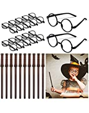 20 Pieces Witch Wand Pencils and Glasses with Round Frame No Lenses Wizard Party Supplies for Halloween Adults Kids Magic Theme Birthday Party Favors Goody Bag Filler