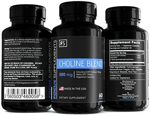 Choline Supplement Blend Citicoline (150mg) + Alpha GPC (150mg) Together Made In The USA