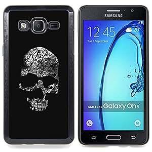 /Skull Market/ - Skull Dark Black Death Shadow Bones For Samsung Galaxy On5 SM-G550FY G550 - Mano cubierta de la caja pintada de encargo de lujo -