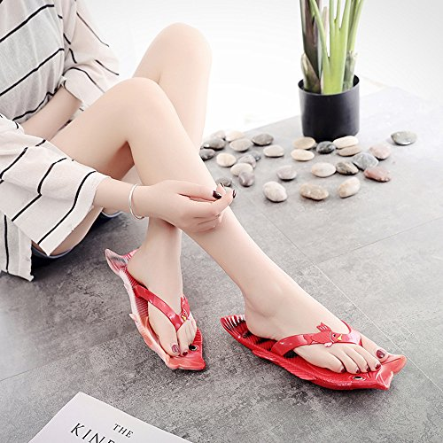 Femmes Rouge Modélisation Drôle Anti Plage Toe Tongs PVC Pantoufles Clip Rouge Dérapant Poisson Mode Uniqstore Pantoufles Creative qBwSaBxv