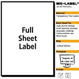 Mr-Label® Extra Large Clear Full-Sheet Strong Adhesive Labels -Transparent Tear-Resistant Waterproof Stickers for Kitchen Use | Manufacturing and Storage - Laser Print Only (25 Sheets)