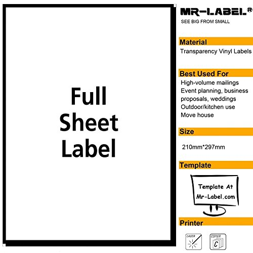 Adhesive Backed Laser Film - Mr-Label Extra Large Clear Full-Sheet Strong Adhesive Labels -Transparent Tear-Resistant Waterproof Stickers for Kitchen Use | Manufacturing and Storage - Laser Print Only (25 Sheets)
