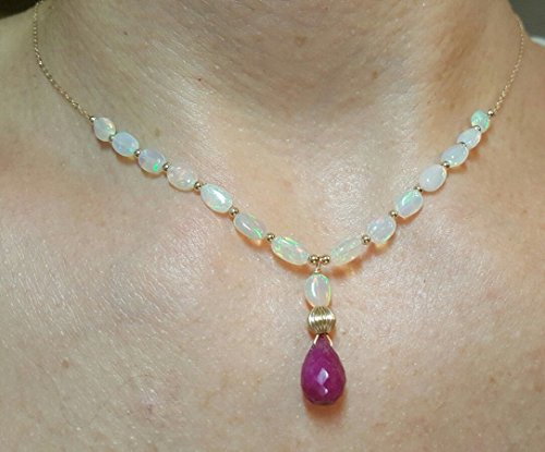 2ct 11mm Ruby pear briolette fire Opal pendant Necklace solid stamped gold 14k