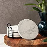 LIFVER Coasters for Drinks, White Marble-Style