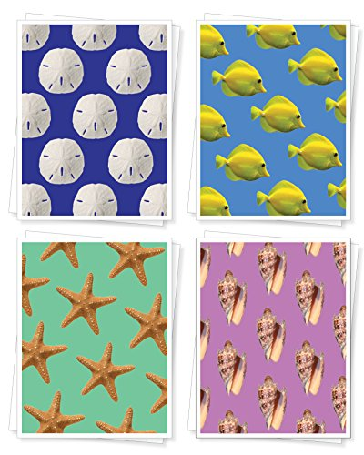 Seashore Assorted Blank Note Cards, Set of 8 Greeting Cards (2 each of 4 designs), Yellow Fish, Sand Dollar, Starfish, ()